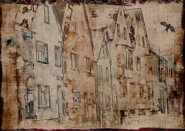 Background, Grunge, Old, Houses, Town, Bird, Street