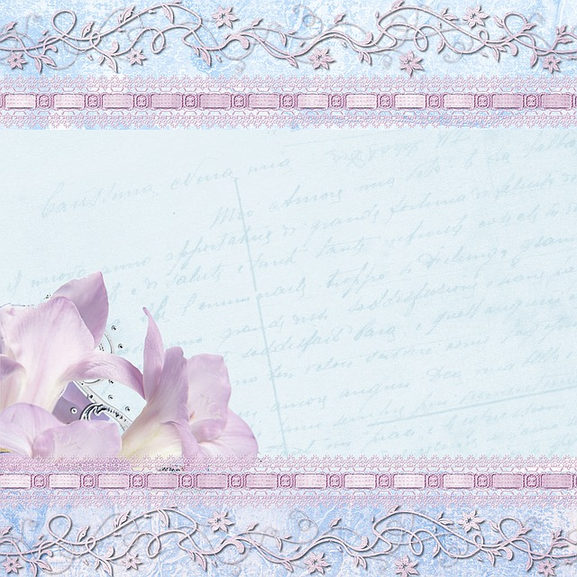Background, Lilac, Blue, Lily, Scrapbook, Vintage