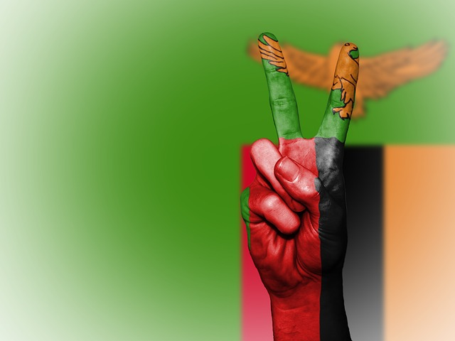 Zambia, Peace, Hand, Nation, Background, Banner, Colors