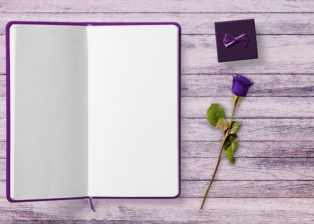 Book, Gift, Rose, Table, Background, Purple, Gothic