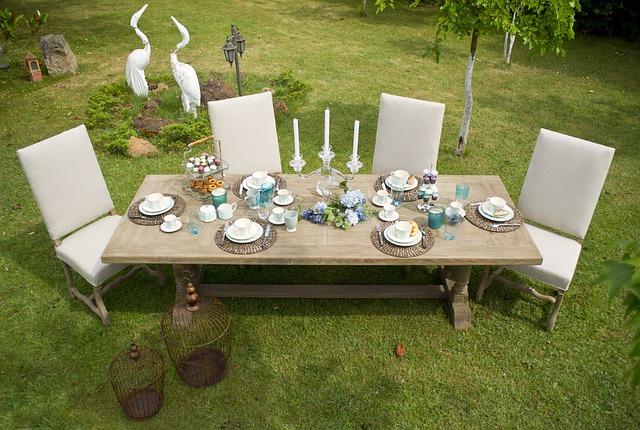 Furniture, Table, Grass, Garden, Summer, Background