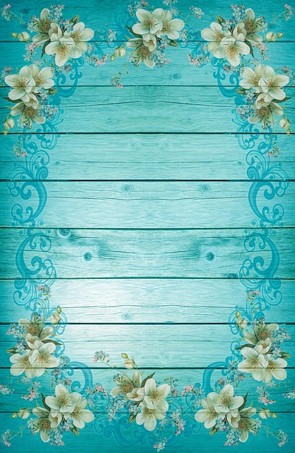Turquoise, Blue, Frame, Flowers, Background, Frisch