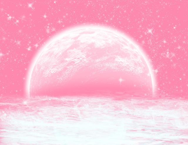 Background, Moon, Water, Pink, Star