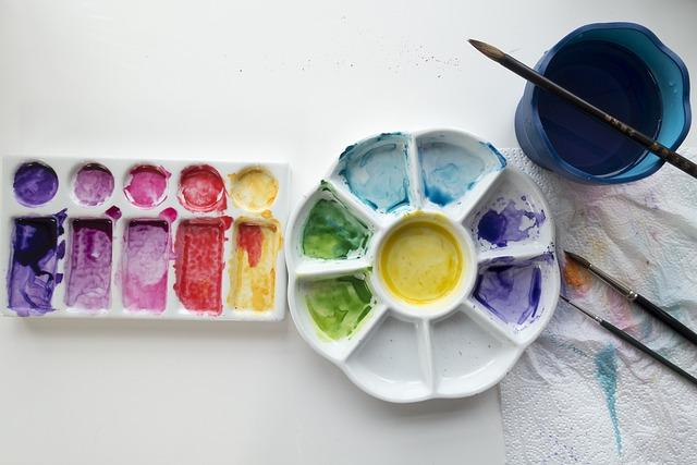 Watercolor, Porcelain Palette, Background, Color, Brush