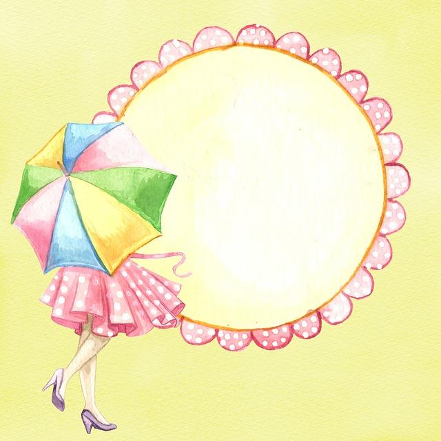 Umbrella, Rain, Background, Watercolor, Woman, Girl
