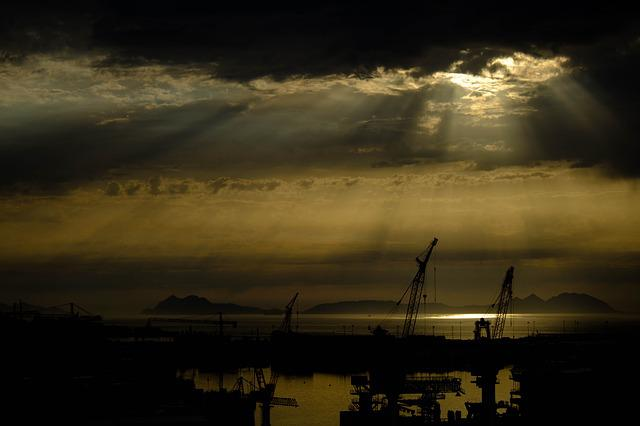Sunset, Backlight, Cies, City, Cranes, Rays, Sun
