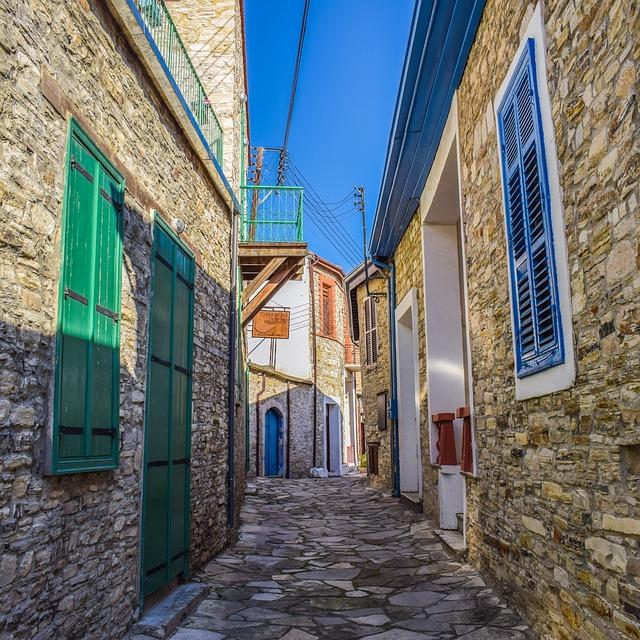 Cyprus, Kato Drys, Village, Houses, Wall, Backstreet