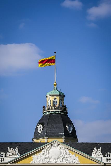 Flag, Castle, Karlsruhe, Baden Württemberg, Residence