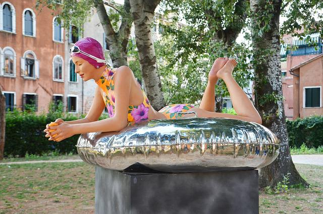 Woman, Badenixe, Bathing Cap, Swimming Ring, Sport