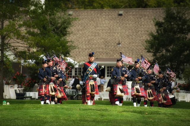 Bagpipes And Drummers, Music, Flags, Memorial, Service