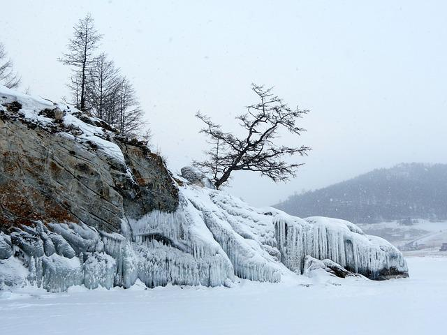 Baikal, Lake, Winter, Beach, Bad Weather, Partly Cloudy