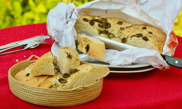 Flat Bread, Bread, Olive Bread, Bake, Baked
