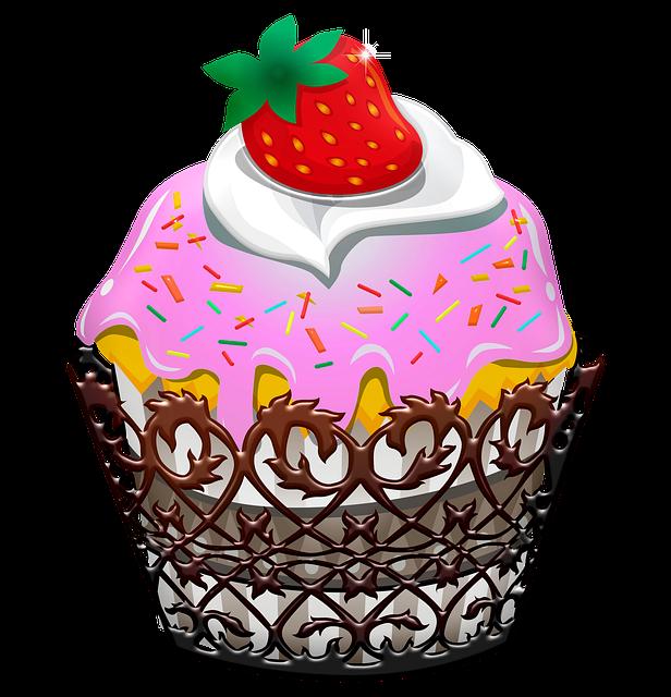 Cupcake, Pink, Strawberry, Cake, Dessert, Bakery