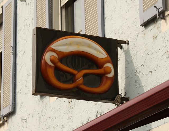 Pretzel, Baker, Bakery, Advertising, Shield, Home