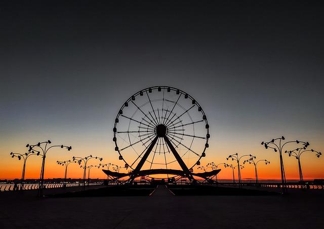 Baku Eye, Ferris Wheel, Sunrise, Sea, Morning, Water