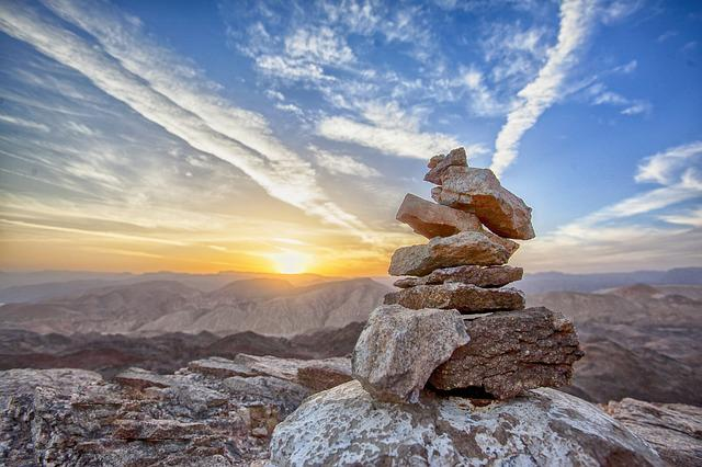 Rocks, Balance, Sunset, Mountain, Top, Peak, Summit