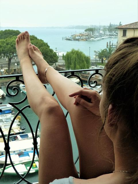 Young Woman, Holiday, Sit, Window, Balcony, Port, Rain
