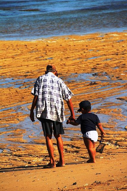 Bali, Grandfather, Grandson, Sand, Light, Color