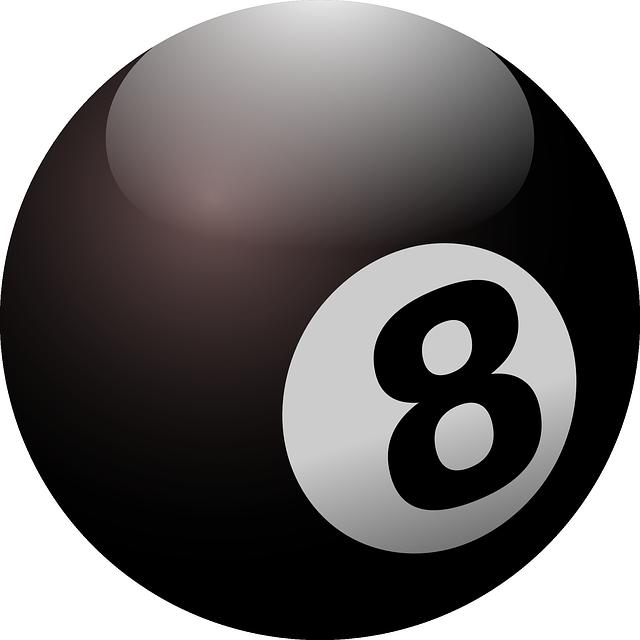 Billiard, Ball, Black Ball, Eight, Round, Black