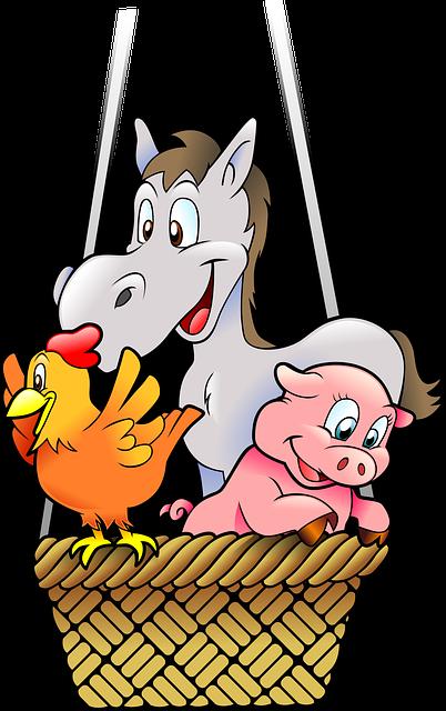 Animals, Anthropomorphized Animals, Balloon, Basket