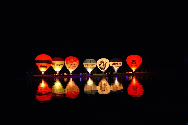 Night, Nightglow, Hot Air Balloon, Balloon, Boating