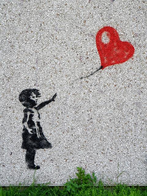 Mural, Girl, Balloon, Child, Heart, Graffiti, Innocent