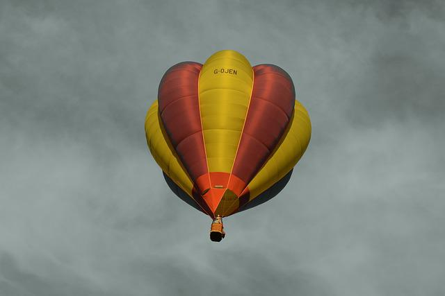 Hot Air Balloon, Balloon, Colour, Yellow, Red, Grey