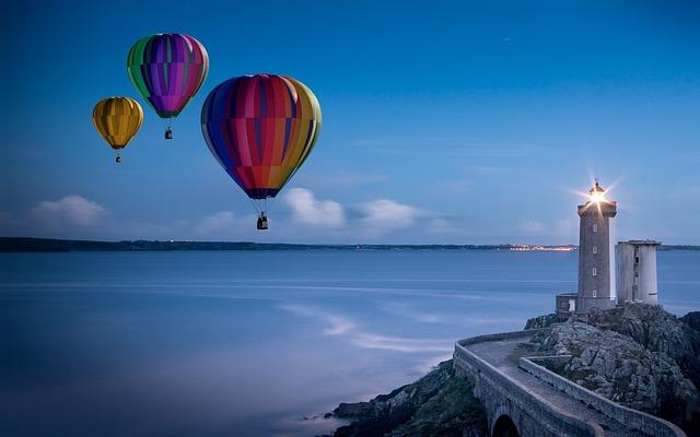 Balloon, Hot Air Balloon Ride, Lighthouse, Sky, Glow
