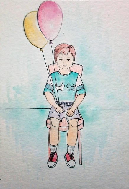 Baby, Boy, Figure, Watercolor, Balloons, Chair