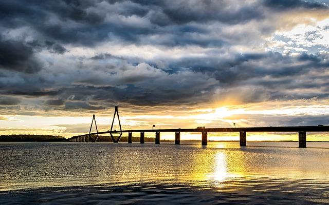 Baltic Sea, Bridge, Denmark, Sea Bridge, Sunset