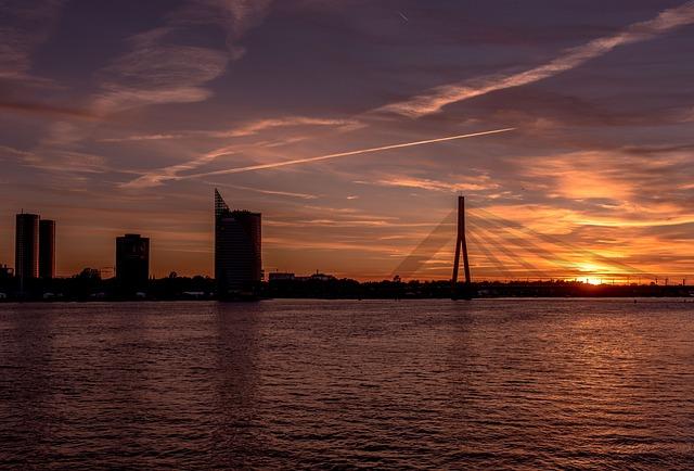 Baltic States, Riga, Sunset, Bridge