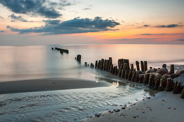 Baltika, Baltic, Sea, Sunset, Clouds, Calm, Breakwater