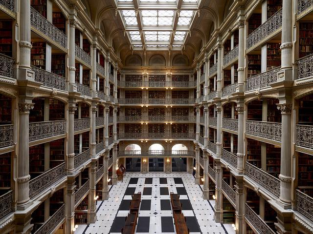Peabody Institute, Baltimore, Usa, Building, Library