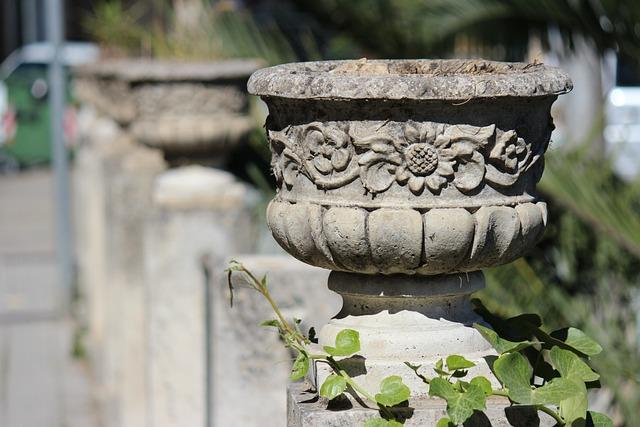 Vase, Planter, Stone, Ivy, Plant, Creeper, Balustrade