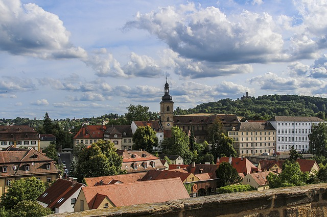 Bamberg, Clouds, Roofs, Church