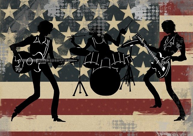 American, Usa, Band, Silhouette, Drums, Flag, Guitar