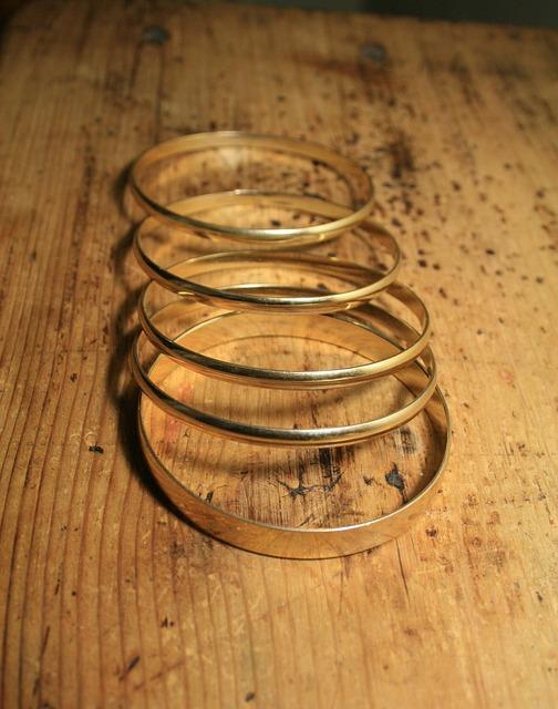 Bangles, Metal, Gold-coloured, Shiny, Solid, Fashion