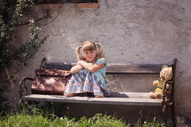 Person, Human, Child, Girl, Blond, Bank, Wooden Bench
