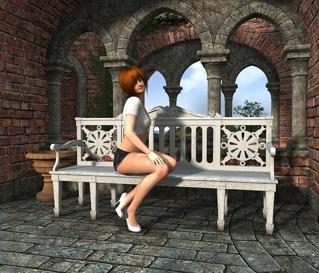 Woman, Bank, Sit, Wait, Rest, Relax, Look, Alone, Click