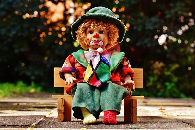 Doll, Clown, Sad, Bank, Sit, Colorful, Sweet, Funny