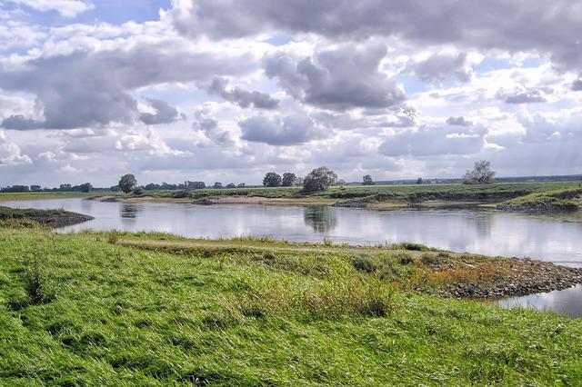 Landscape, River, Clouds, Bank, Water, Nature, Elbe