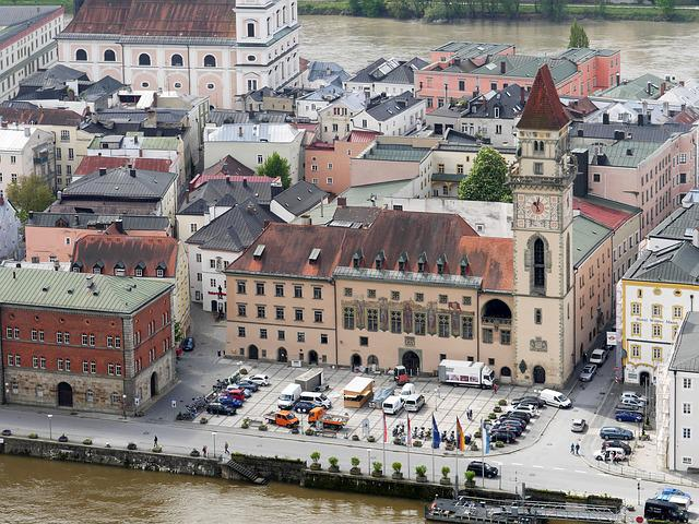 Passau, Town Hall Square, Bank Of The Danube, Old Town