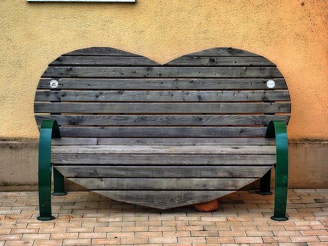 Bench, Heart Shape, Bank, Seat