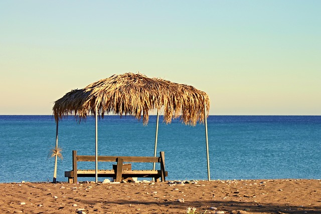 Beach, Sea, Bank, Palm Leaf, Mediterranean, Summer