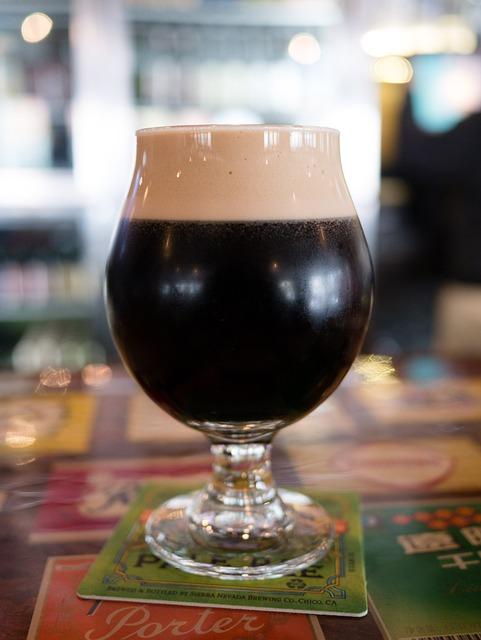 Dark Beer, Stout, Glass, Bar, Bokeh, Alcohol, Brew