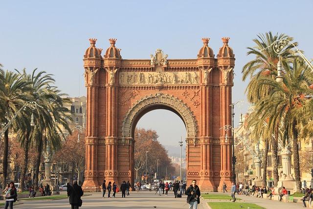 Spain, Barcelona, Triumphal Arch, Street View