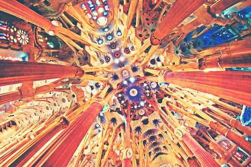 Architecture, Barcelona, Church, Spain, Up