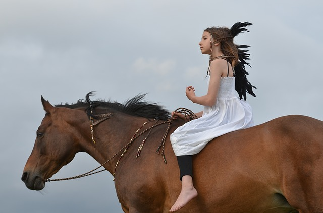 Girl, Rider, Horse, Bay, Native American, Bareback