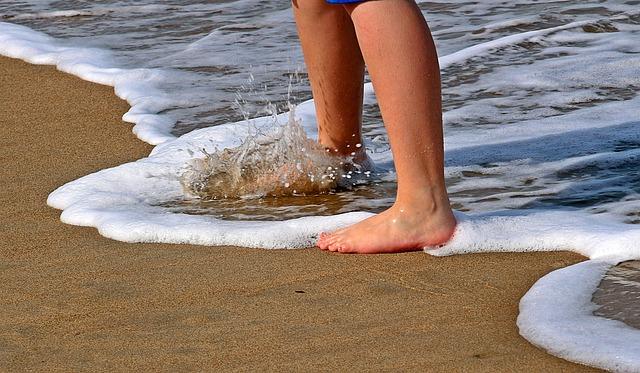 Feet, Legs, Sand, Water, Wave, Go, Spray, Barefoot