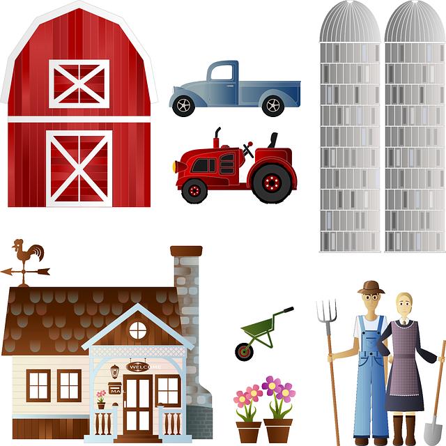 Barn, Flowers, Farm, Farmer, Pot, Silo, Spade, Tractor